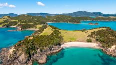 Sailing Bay of Islands New Zealand An aerial shot of Urapukapuka Island in the Bay of Islands, New Zealand, looking towards both Otiao and Paradise bays