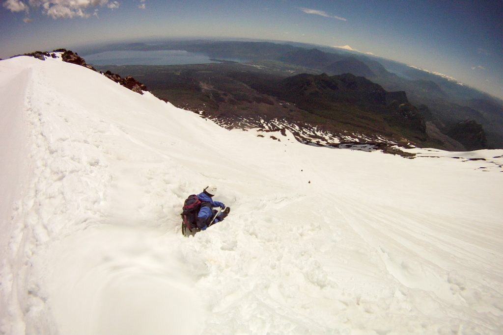 Sliding down Villarica Volcano