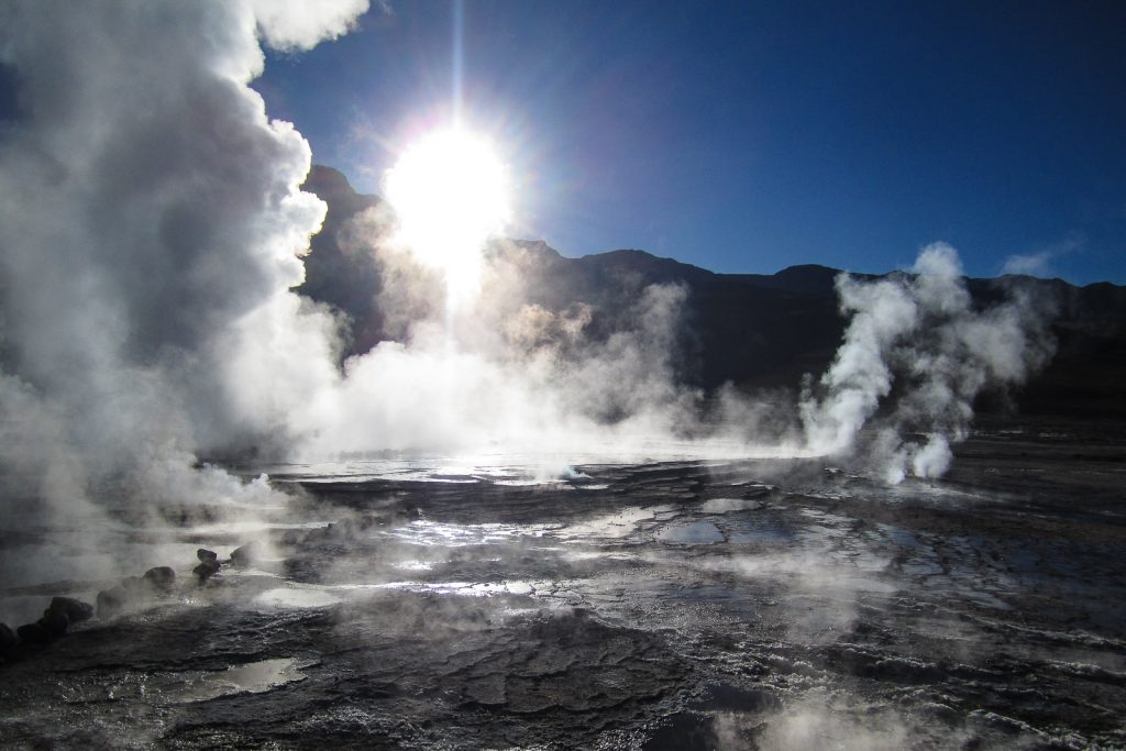 El Tatio Geysers steam clouds venting, San Pedro de Atacama