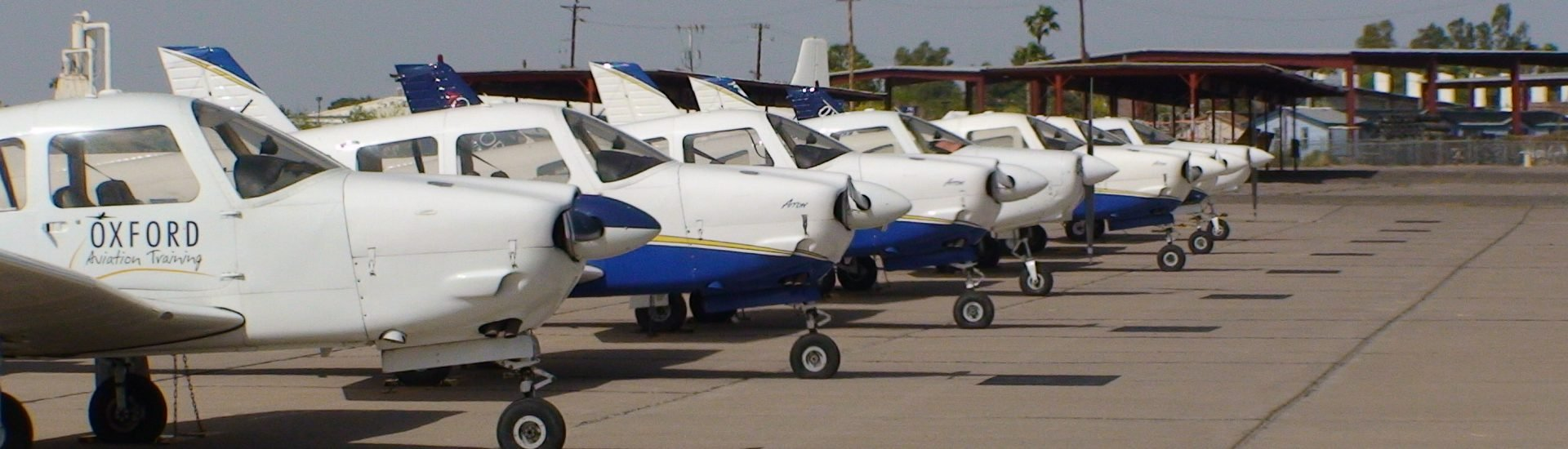 Line of Aircraft at Flight School