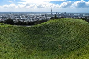 Mt Eden Crater and Auckland Skyline. New Zealand travel blog