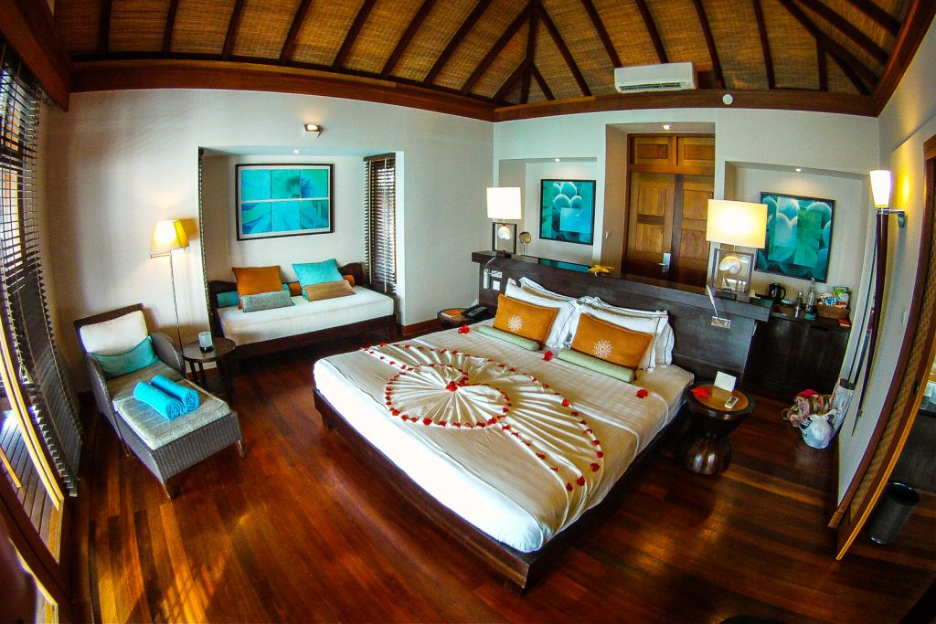 Maldives resorts with luxury bathrooms in their over water bungalows.