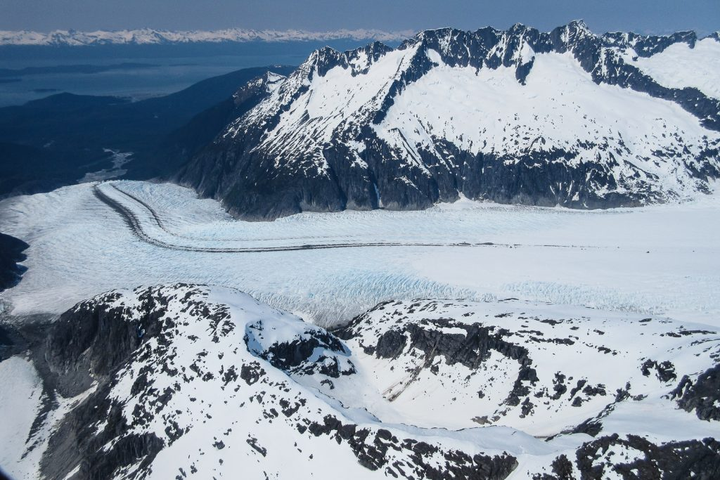 Helicopter flight to the Juneau Icefield and mendenhall Glacier in Alaska USA with Northstar Trekking.