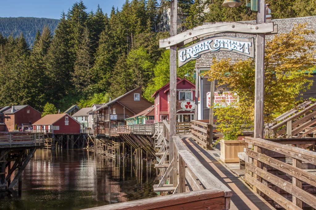 Ketchikan, AK, USA, May 13, 2016. Creek Street is a boardwalk perched on pilings along the banks of the Ketchikan Creek. Historically, this street was Ketchikan's red light district from 1902 to 1954. Now, the street houses businesses catering mainly to the tourist trade.