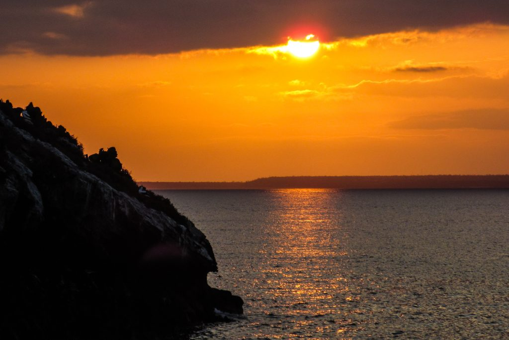 Sunsets over Daphne Island in the Galapagos Islands on a Galapagos Cruise in Ecuador