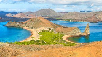 Panoramic view of pinnacle Rock and surroundings in Bartolome island, Galapagos, Ecuador