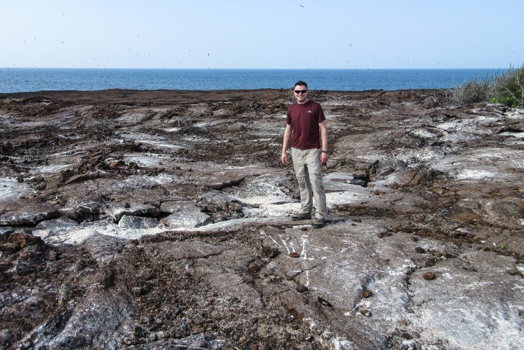Standing on Genevosa Island in the Galapagos Islands