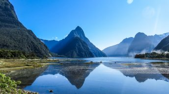 Mitre Peak overlooking Milford Sound, Queenstown to Milford Sound Tour