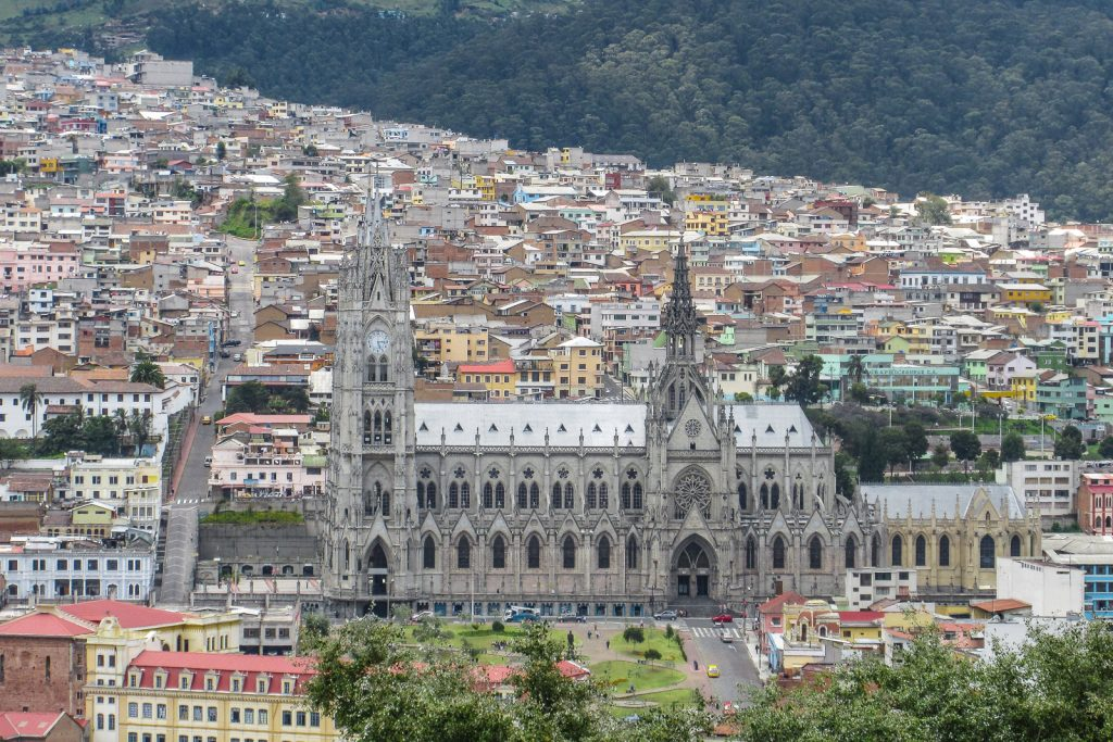 Things to do in Quito: View from Parque Itchimbia of Basilica del Voto Nacional