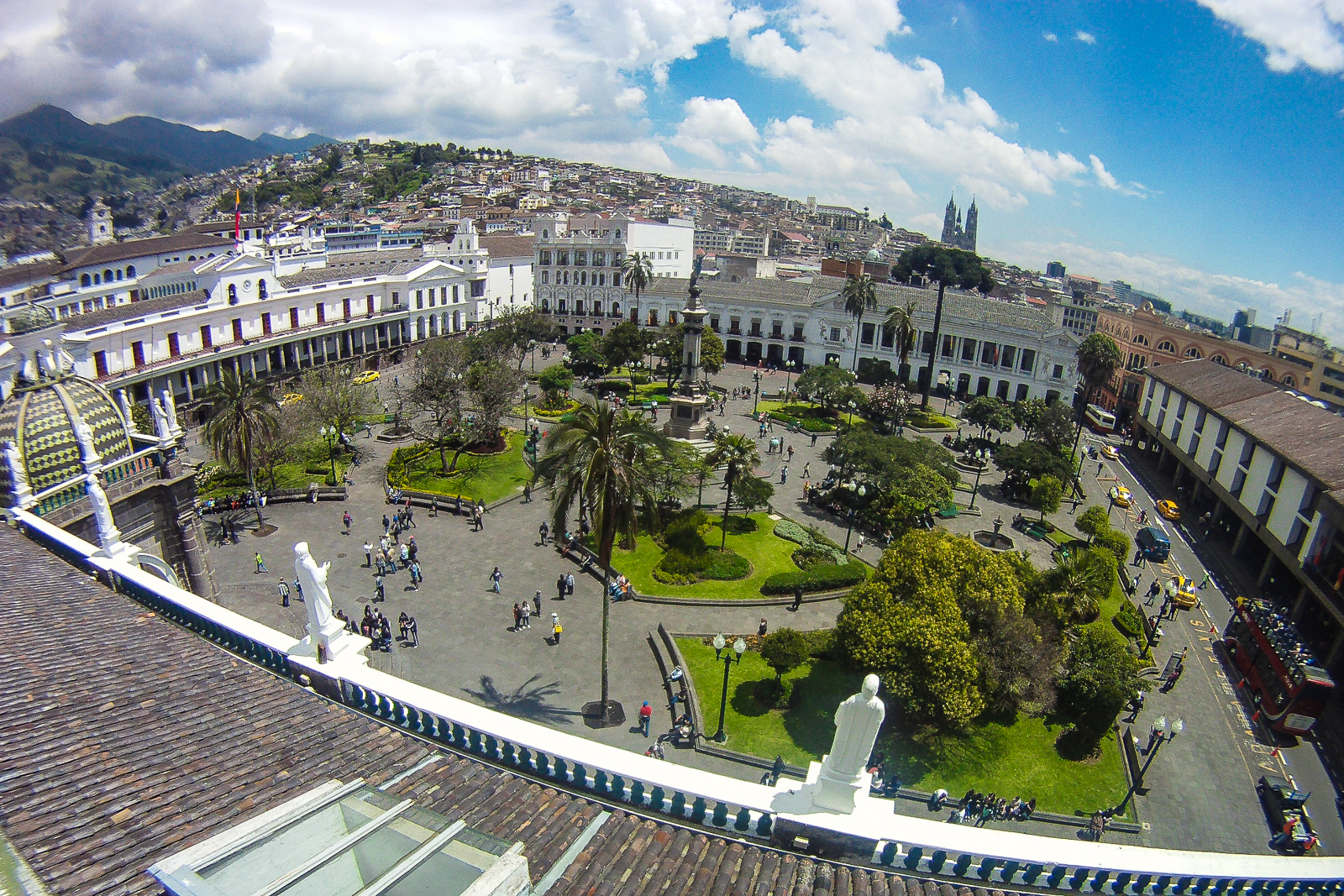 View of Plaza Grande Quito from the roof of Quito Cathedral. Top things to do in Quito.