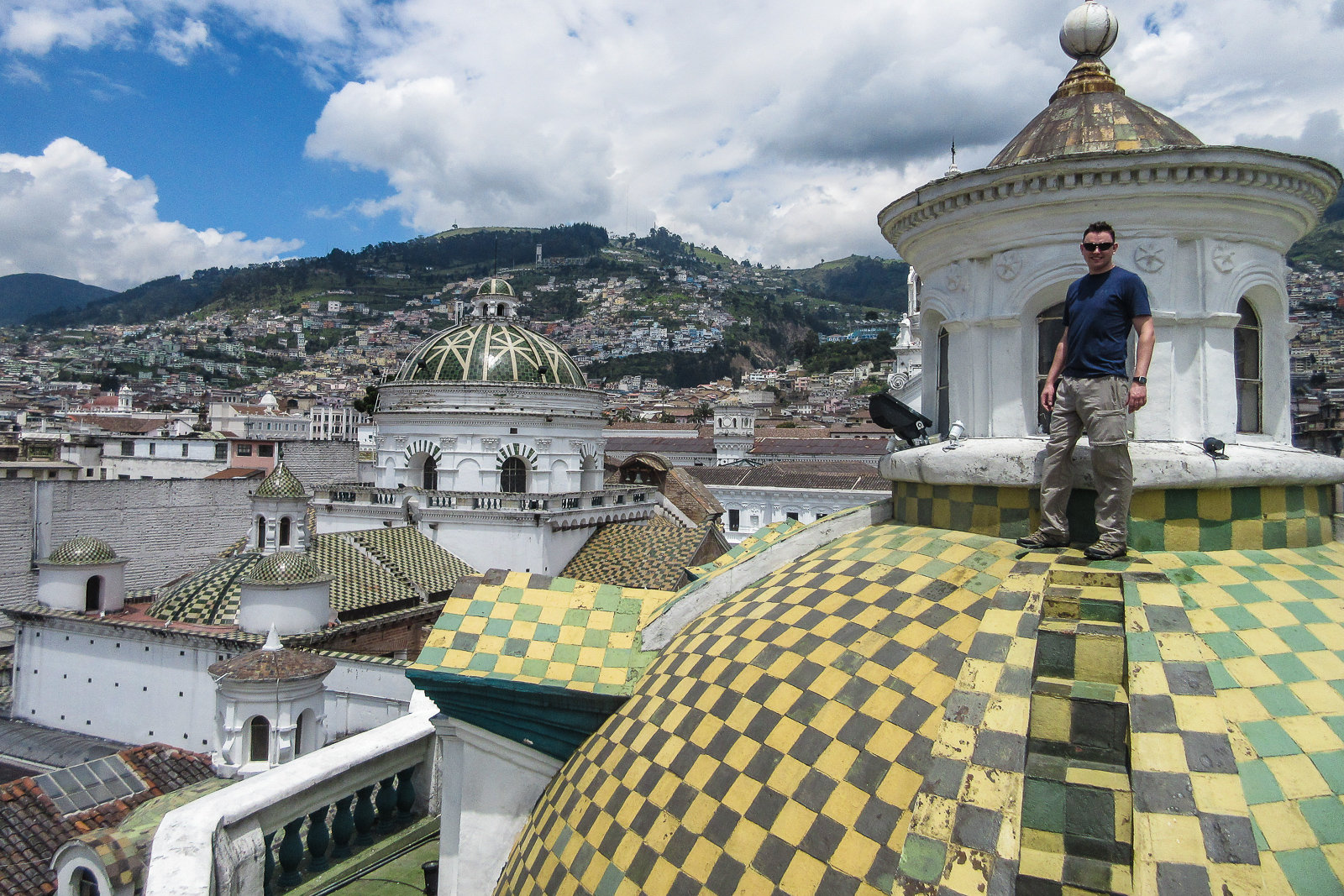 Standing ontop of the Quito Cathedral Roof is a top thing to do in Quito Ecuador.