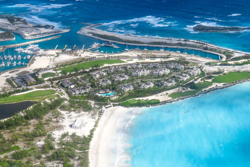 The Grand Isle Resort at Emeral Bay, Bahamas. Is an exclusive resort on Exuma Island, one of the Bahamas Out Islands. WIth a whitesand beach and championship Emeral Bay golf course