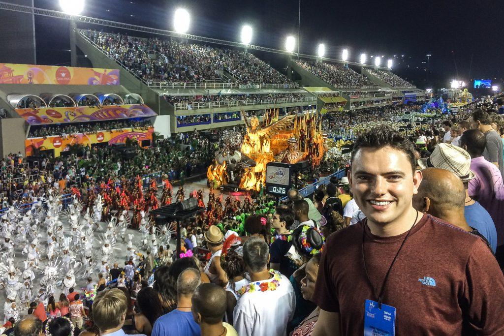 Pilot Mark at Carnival in the Sambadrome in Rio de Janeiro