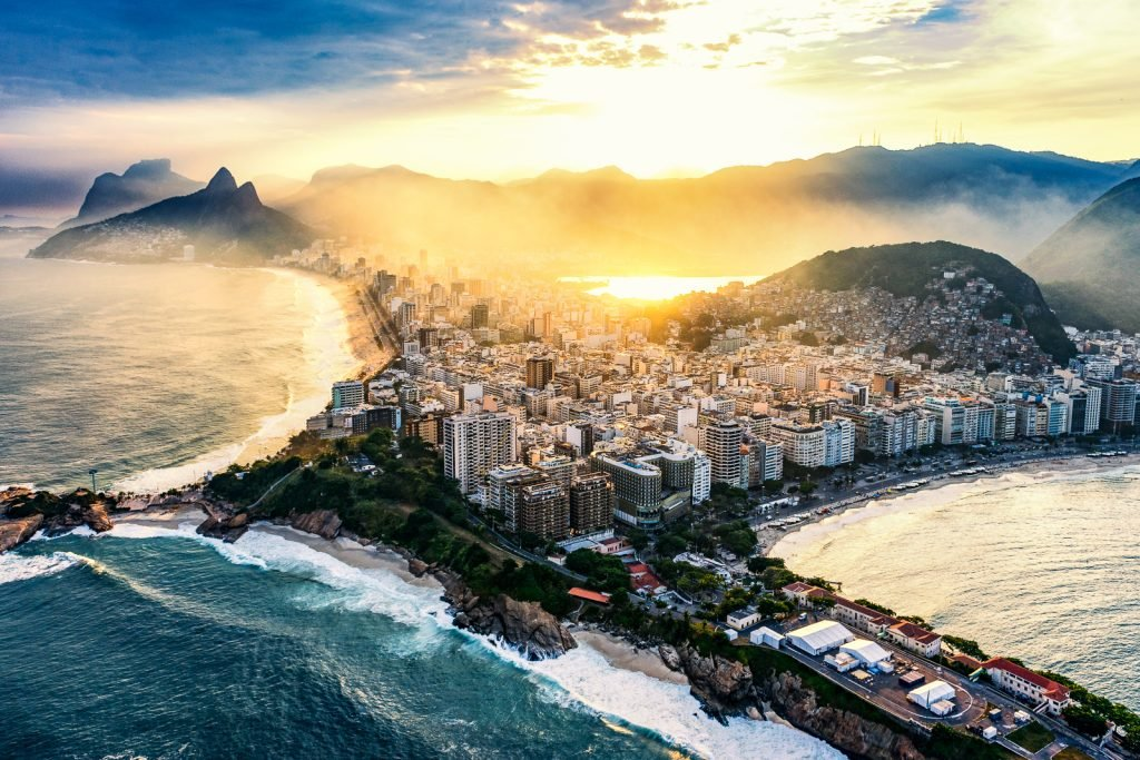 Copacabana and Ipanema beaches in Rio De Janeiro. Shot from helicopter, sunset time