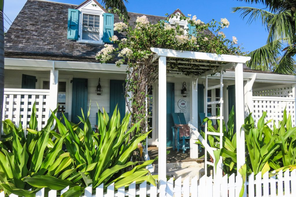 Loyalist cottage in the colonial Dunmore Town in Harbour Island Bahamas. Harbour Island Bahamas is located in North Eleuthra. Flights to North Eleuthra fly from florida Fort Lauderdale and Miami with Bahamas Air Tours.
