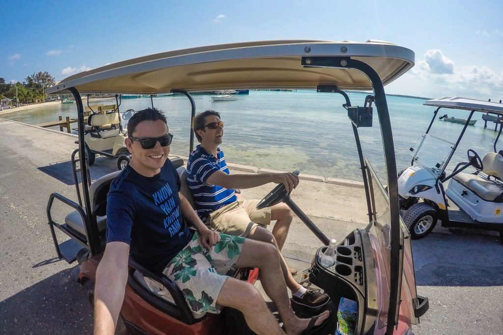 Tour Harbour Island Bahamas by golf buggy driving around Dunmore Town, Pink Sands Beach, Lone Tree, Valentines Resort and Marina, Pink Sands Resort