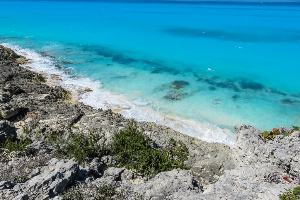 Beach on Little Exuma, the Exumas Bahamas,; close to tropic of cancer beach