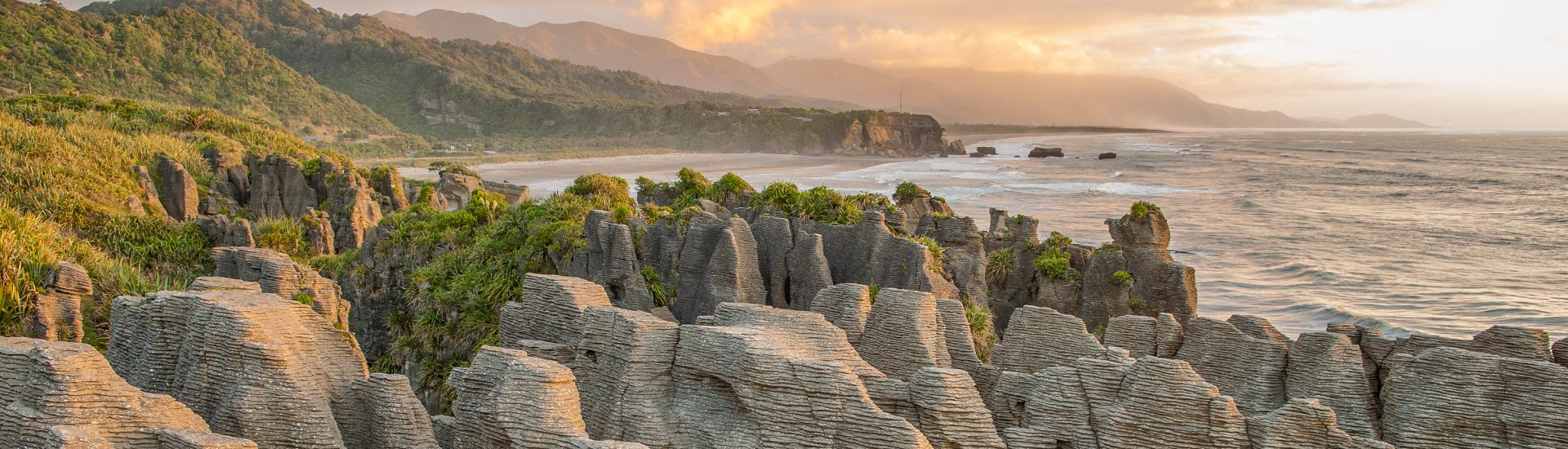 Sunset at Pancake Rocks, South Island, New Zealand, things to do in New Zealand