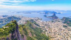 Aerial view of the Christ, The Redeemer Monument and the Corcovado Mountain in Rio de Janeiro, Brazil. One of the Seven Wonders of the World the monument is a must-go spot do travelers upon visiting Rio. Along with the beautiful statue the view of the Corcovado is breathtaking with the Sugarloaf Mountain and the Botafogo Bay among some of the places you can see from up there.