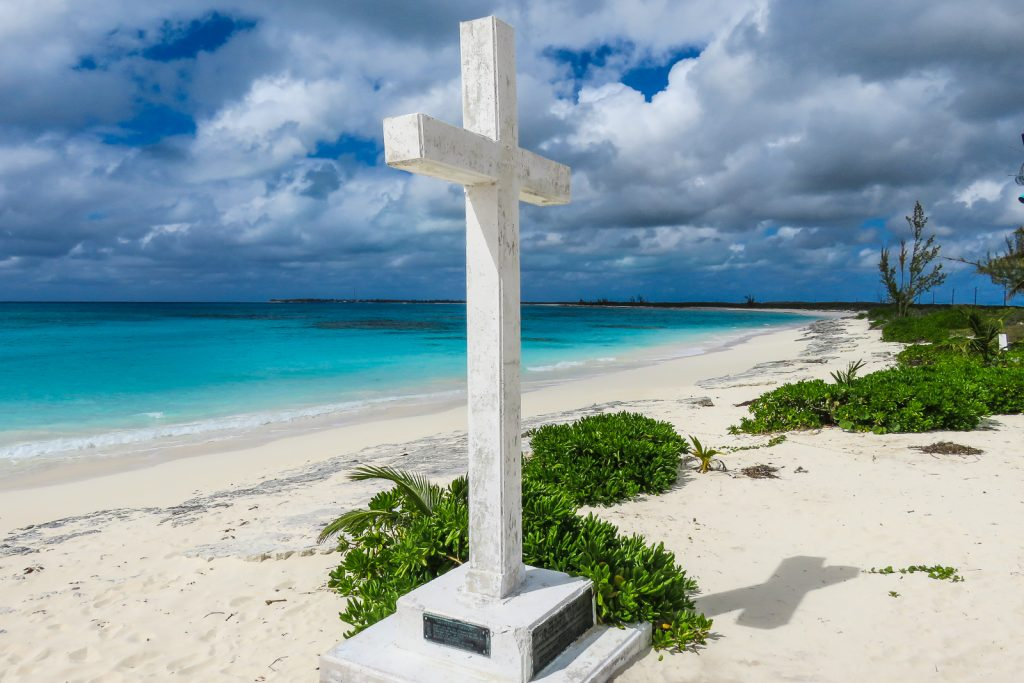 The Columbus Monument, San Salvador Island. Commemorates when Christopher Columbus first landed in 1492 on his quest to discover the New World. San Salvador is one of the Bahamas Out Islands and should be visited on your Bahamas Vacation