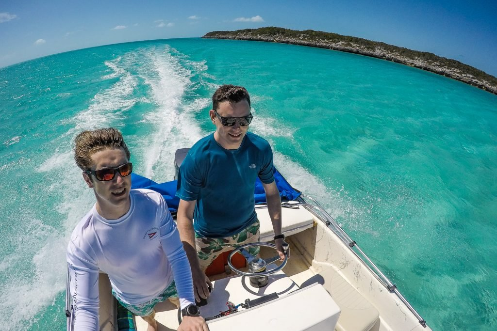 Boating at Staniel Cay Yacht club where you can rent a small boat and go visit the exum pigs, swimming pigs, bahamas rock iguana, thunderball grotto from James Bond films.