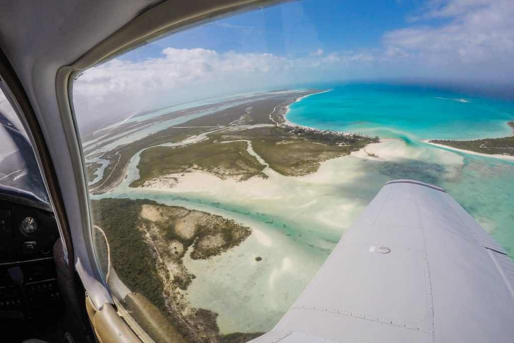 Flying over Cape Santa Maria on the Long Island, Bahamas