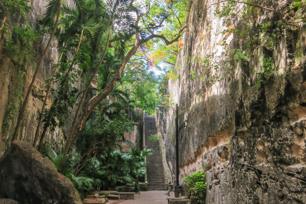 Queens Staircase leads upto Fort Fincastle with panoramic views of Nassau. Top things to do in Nassau Bahamas.