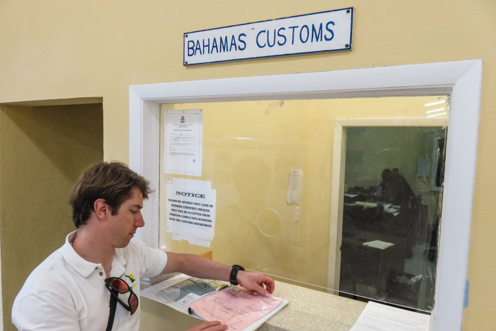 Florida to bahamas and completing all the paperwork at Bahamas Customs office.