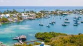Views from the Hope Town Lighthouse of Hope Town Bahamas on Elbow Cay Bahamas. Elbow cay is located on the Abaco Islands and can be reached by ferry from Marsh Harbour. Copyright Bahamas Ministry of Tourism