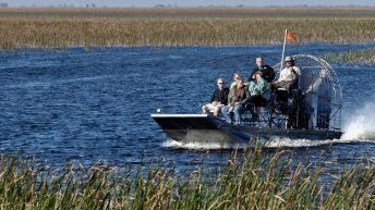 Everglades Airboat Tours, Things to do in Miami Florida. Tourist enjoying and airboat ecotour of the Sawgrass Recreation Park in the Everglades . Sawgrass airboat tours are one of south Florida's top destinations activities for visitors to the state.