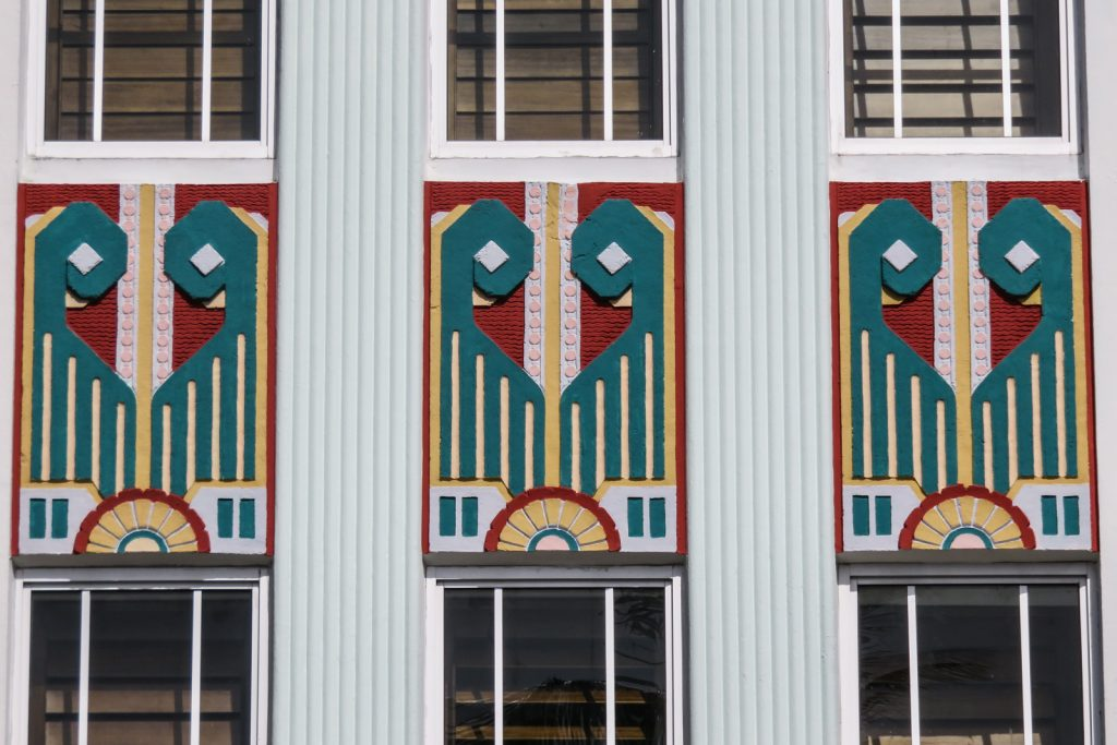 South Beach art deco Cavalier Hotel ocean drive miami beach. With art deco temple like facade with a temple theme. Geometric designs which relate to Aztecs.
