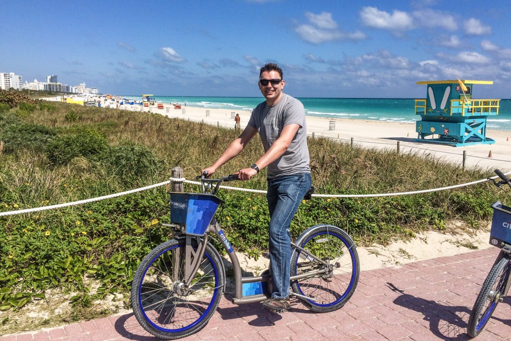 Things to do in Miami Beach, rent bikes and ride along the South Beach broadwalk alongside Ocean Drive and Miami Beach around the South Beach Art Deco district