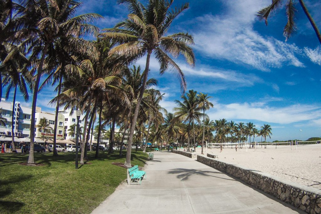 Things to do in Miami Beach, visit Lumnus Park and hire a bike to ride along the broadwalk which runs between miami beach and Ocean Drive