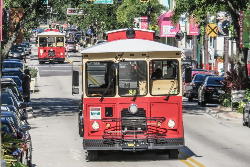 Ride the free trolley bus in downtown West Palm Beach Florida