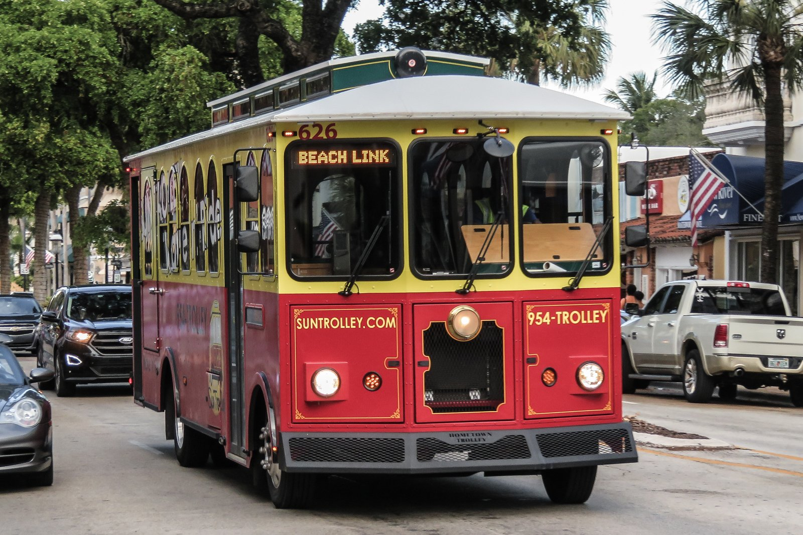 Things to do in Fort Lauderdale, ride the free Sun Trolley bus service along Las Olas Boulevard.