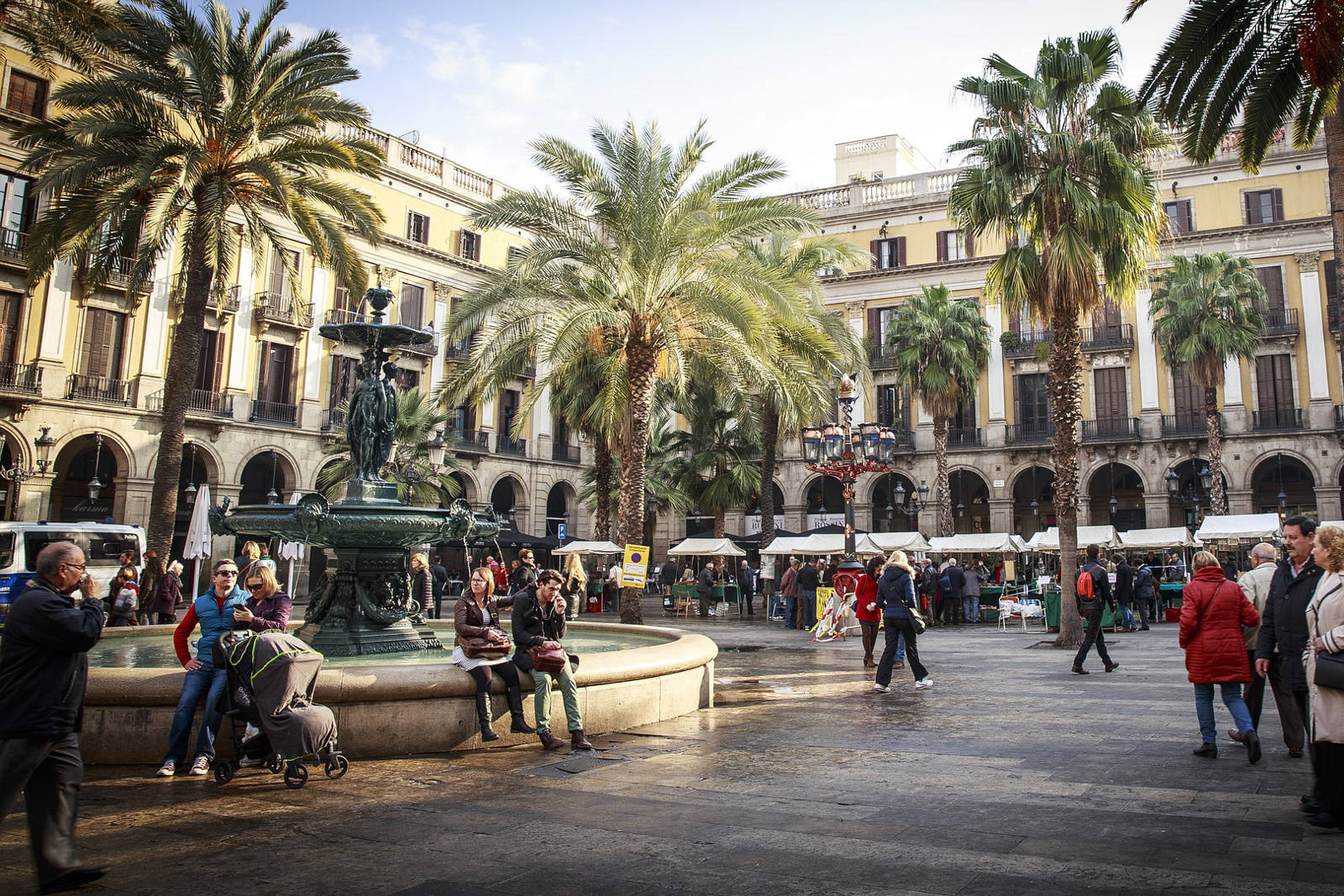 Things to do in barcelona spain on 24 hours in barcelona. On las ramblas on barcelona main street where many vendors sell souveniers.