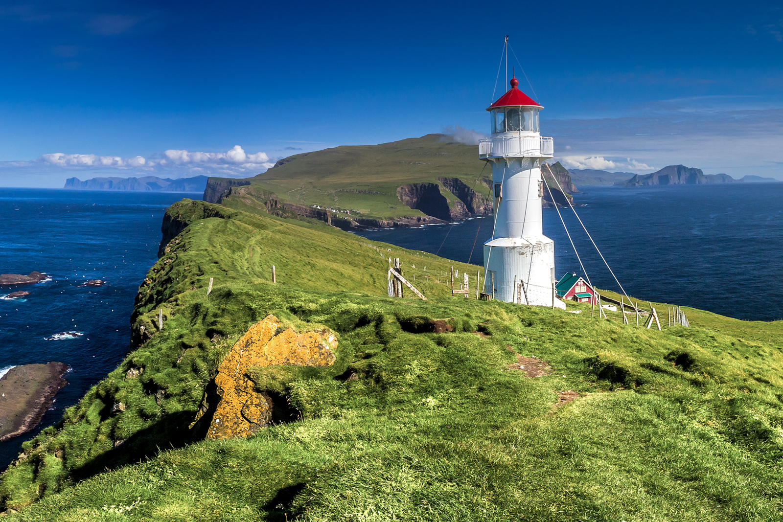 Things to do in Faroe Islands Travel. Panoramic view of Old lighthouse on the beautiful island Mykines. Best time to visit Faroe Islands.