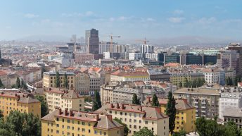 Things to do in Vienna Austria from a walking tour Vienna to day trips from Vienna. Explore the Vienna Old Town. Panorama view of the Austrian capital, Vienna. The City scape includes the famous St. Stephens Cathedral in the right of the picture.