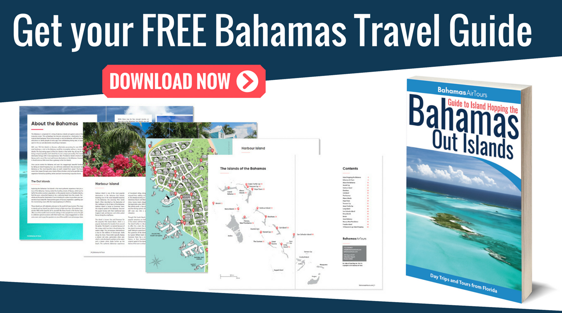 Get a free copy of the Bahamas Guide to island hopping the Out Islands. From Bahamas Air Tours, providing Bahamas Day Trips and Island Hopping Tours