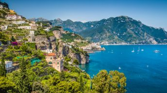Things to do in Amalfi Coast. Scenic picture-postcard view of famous Amalfi Coast with beautiful Gulf of Salerno, Campania, Italy. Discover what to do in Amalfi Coast and things to do in Sorrento Italy.