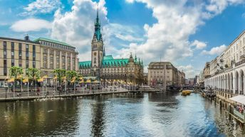 Things to do in Hamburg Germany. Beautiful view of Hamburg city center with town hall and Alster river, Germany. Visit the best places in Hamburg.