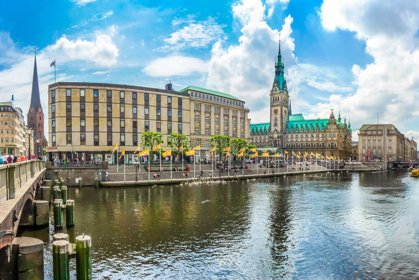 Things to do in Hamburg Walking tour with Beautiful view of Hamburg city center with town hall and Alster river, Germany