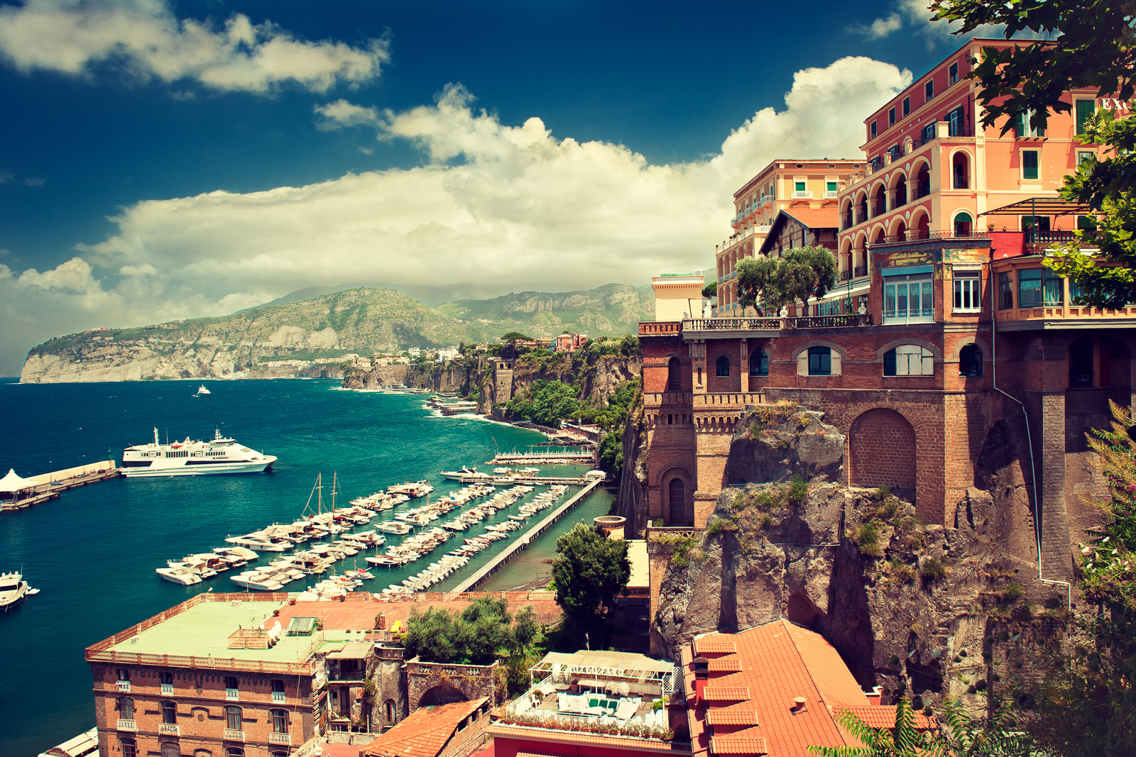 Top things to do in Amalfi Coast landmarks in Sorrento place. Amalfi coast. Italy. Cliff ,beach and boat pier.