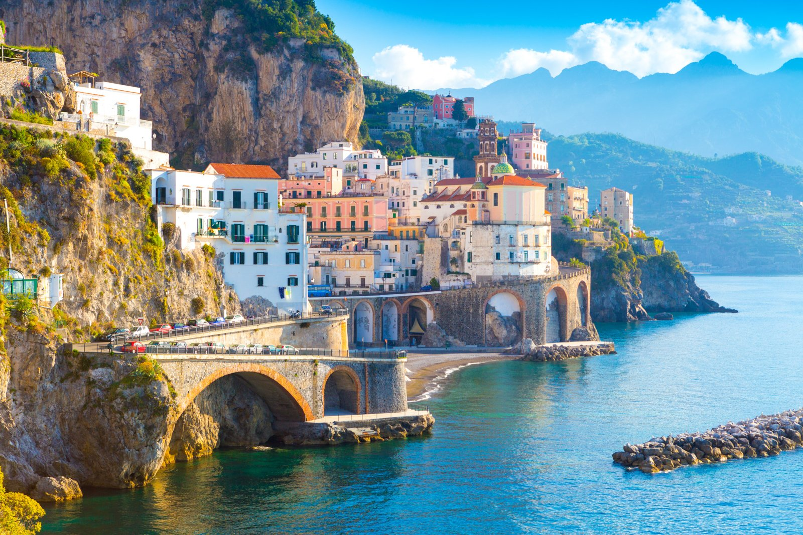 Top things to do in Amalfi Coast Resorts in Morning view of Amalfi cityscape on coast line of mediterranean sea, Italy