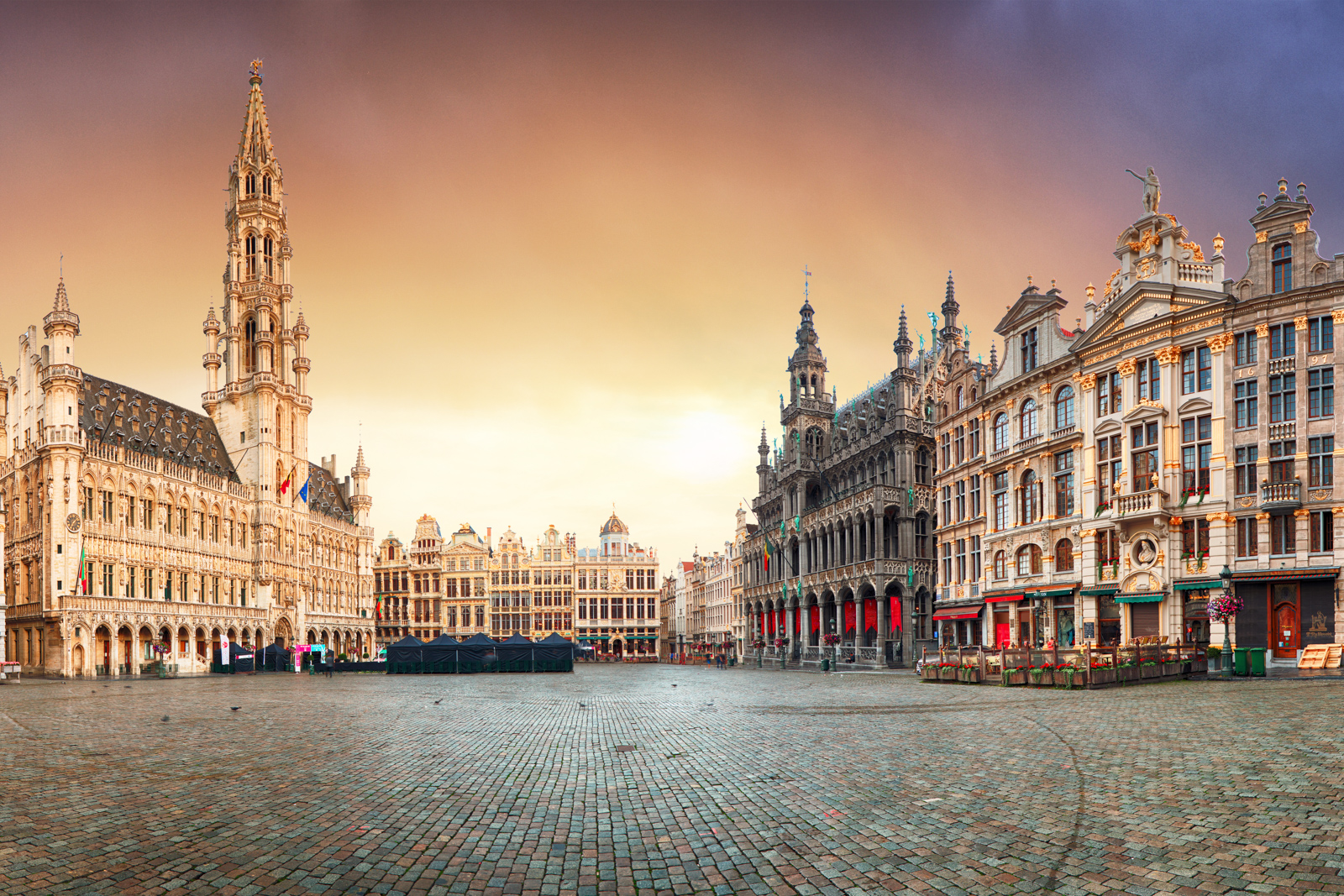 Top things to do in Brussels attractions and brussels beer tour. Brussels - panorama of Grand place at sunrise, Belgium