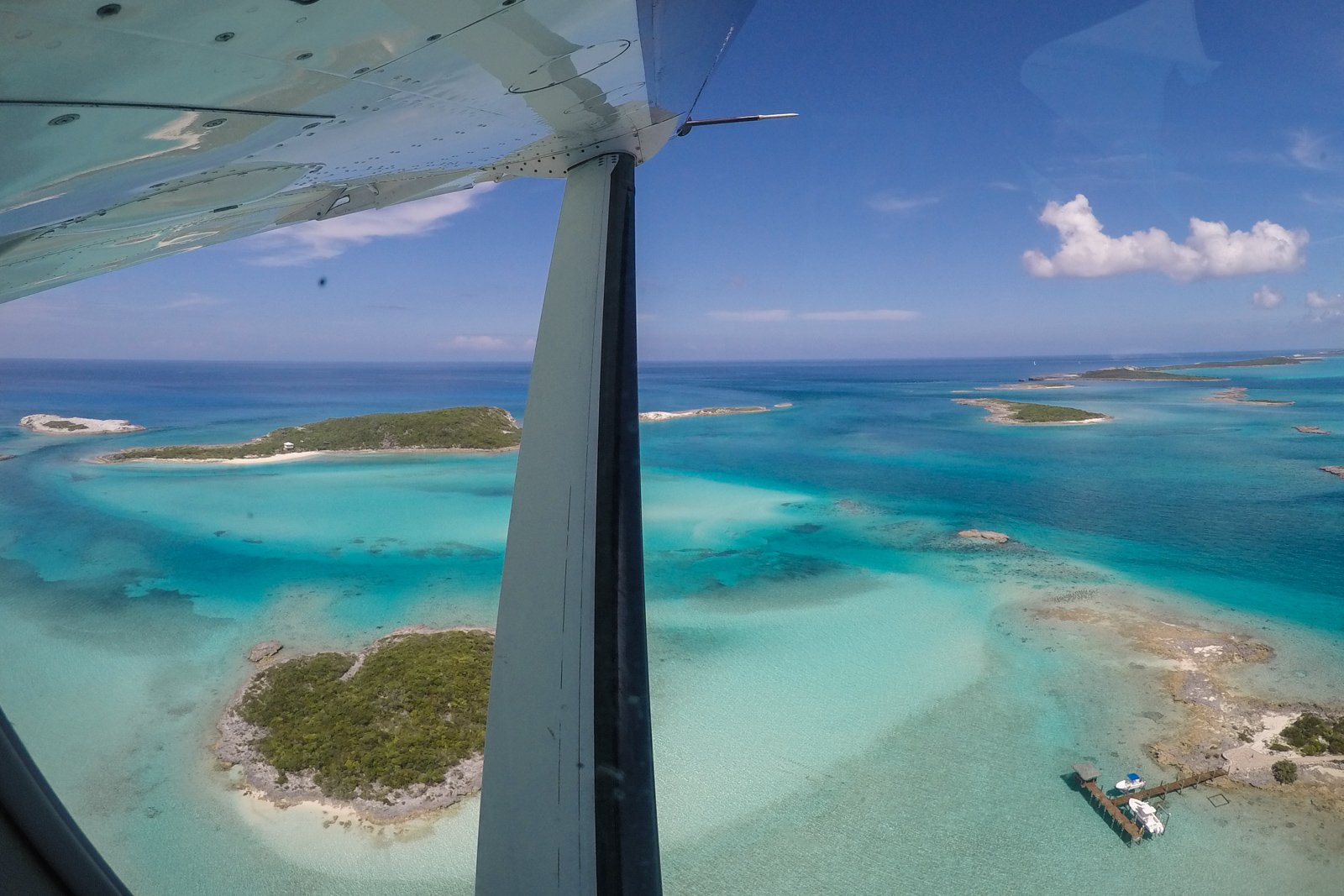 Bahamas Day Trip to Pig Beach at Big Major Cay flying from Nassau and MIami with Bahamas Air Tours.