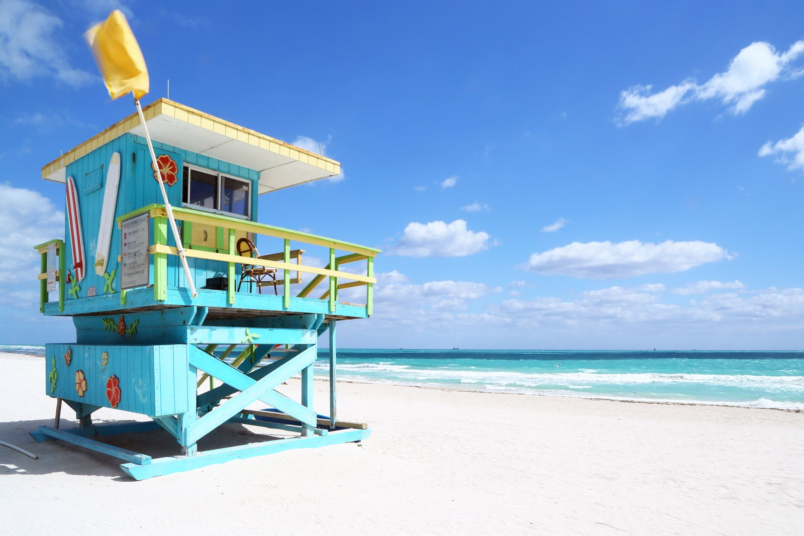Lifeguard hut in one of the deserted Florida beaches. South Beach, Florida. Your guide for all the top Miami attractions and best things to do in Miami. There are Plenty of tourist attractions in Miami Florida. This Guide presented by Flying and Travel.