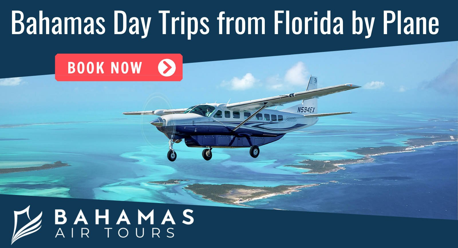 Bahamas Day Trips by Plane with Bahamas Air Tours. Fly from FLorida and Nassau to Swimming Pigs at Staniel Cay Exuma