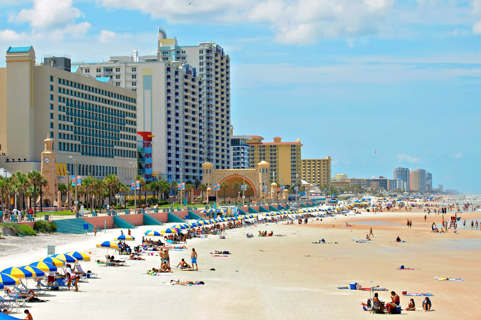 Daytona Beach Florida during a hot summer day. There are plenty of cheap things to do in Orlando such as a visit north to Daytona Beach which people don't consider to be one of the fun things to do in Orlando day trips.