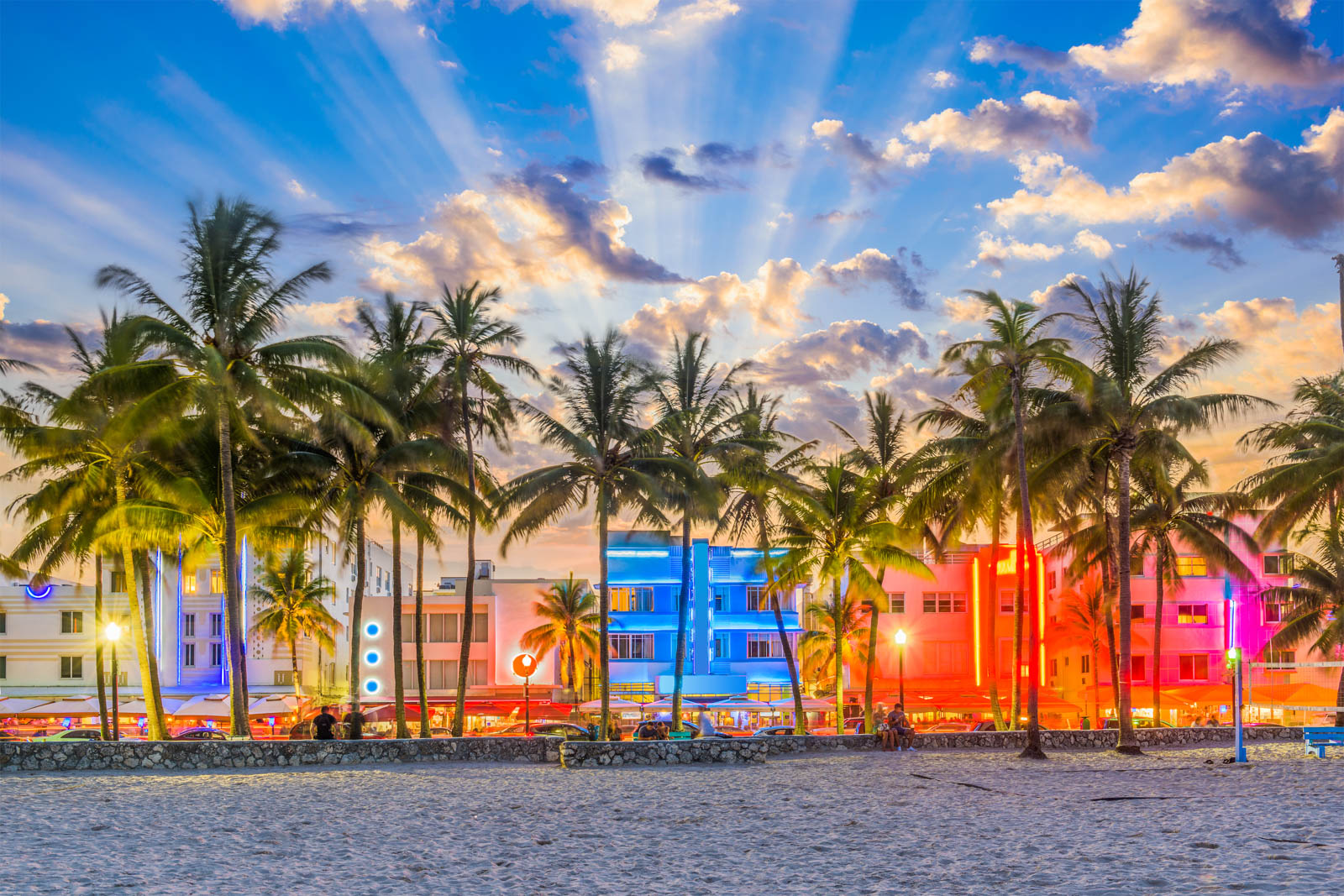Ocean Drive in Miami is one of the cool places to visit in Florida. Walk down the street and people watch for one of the most entertaining things to do in South Florida.